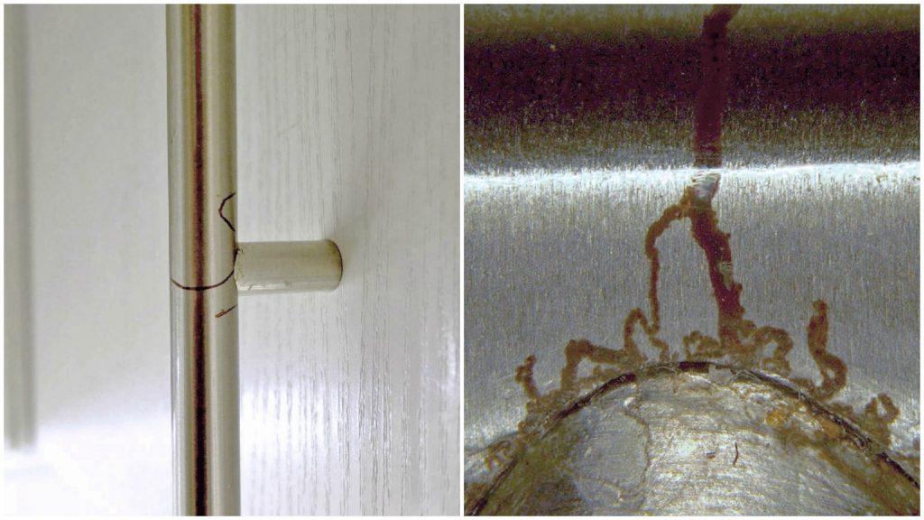 Filiformkorrosion kann auch bei lackierten Stählen, und sogar bei (niedrig-legierten) Edelstählen auftreten (Türgriff mit transparenter Beschichtung).